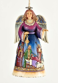 Angel Wrap Around Nativity Hanging Ornament