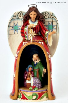 Angel Figurine with Lighted Holy Family Scene