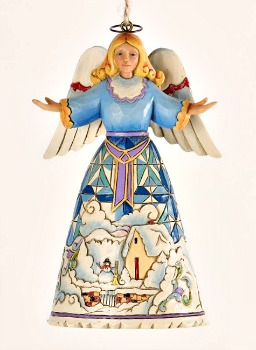 Angel with Winter Scene Ornament