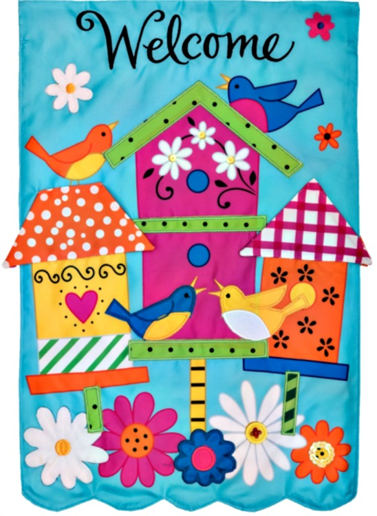 Birdhouses applique mini garden flag by custom decor inc for Custom decor inc