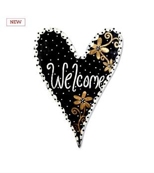 Black and Gold Welcome Heart Door Hanger **NEW**
