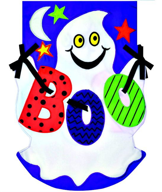Boo ghost applique mini garden flag by custom decor inc for Custom decor inc