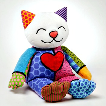 Britto Plush Stuffed Kitty Canvas Animal