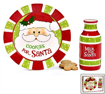 Santa's Cookie Plate/Milk Jug Set