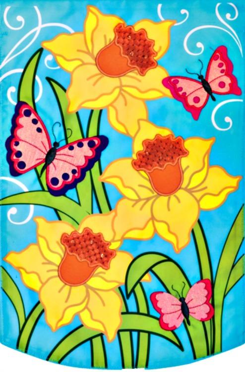 Daffodils applique mini garden flag by custom decor inc for Custom decor inc