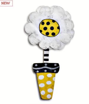 Daisy in Yellow Flower Pot Door Hanger **NEW **