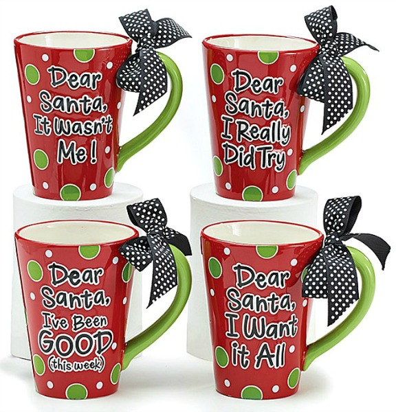 Christmas Mugs.Dear Santa Message Christmas Mugs By Burton Burton