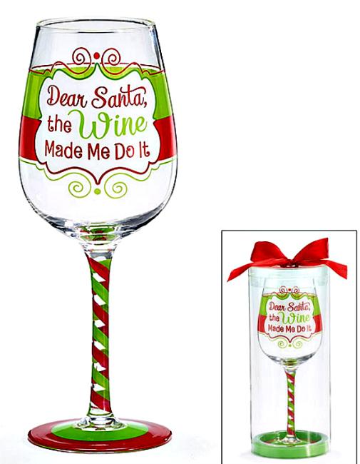 Christmas Wine.Dear Santa The Wine Made Me Do It Christmas Wine Glass By Burton Burton