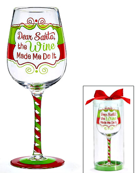 Dear Santa the Wine Made Me Do It Christmas Wine Glass**SOLD OUT**