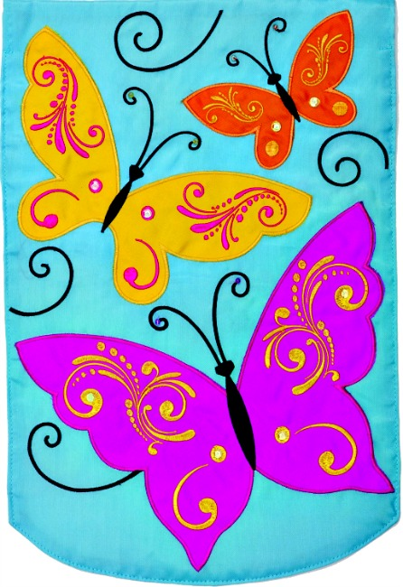 Elegant butterflies applique mini garden flag by custom for Custom decor inc