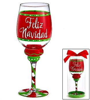 Feliz Navidad Wine Glass