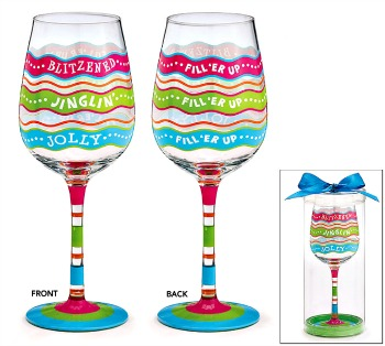 Fill Line Bright Christmas Wine Glass
