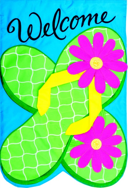 Flip flops applique mini garden flag by custom decor inc for Custom decor inc