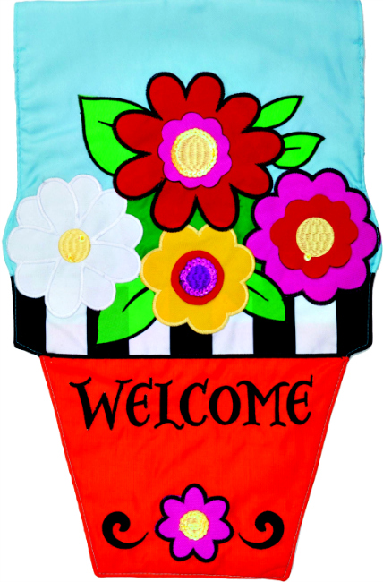 Flower pot applique mini garden flag by custom decor inc for Custom decor inc