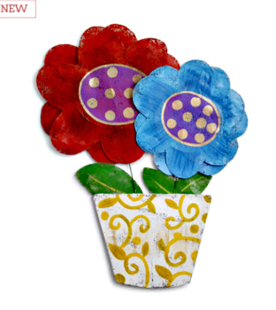 Flowers in Decorative Pot Door Hanger **NEW - NOW AVAILABLE**