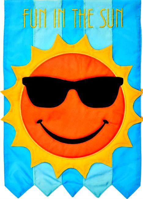 Fun in the sun applique mini garden flag by custom decor inc for Custom decor inc