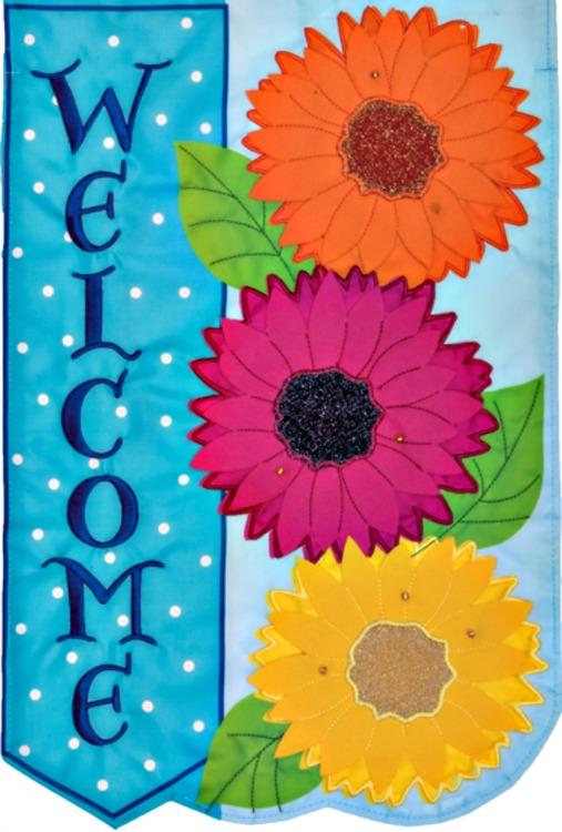 Gerbera daisies trio welcome applique mini garden flag by for Custom decor inc
