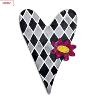 Gray Heart with Pink Flower Door Hanger **NEW - NOW AVAILABLE**