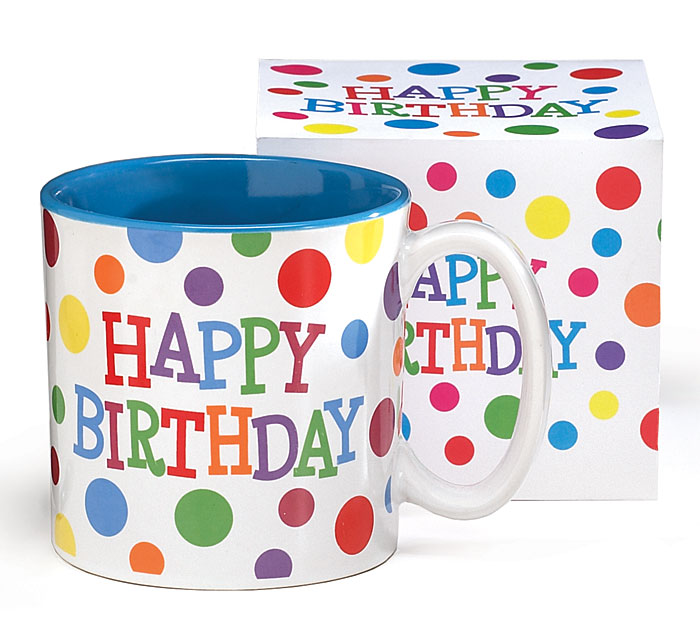 Happy Birthday MultiColor Polka Dots Mug by Burton & Burton