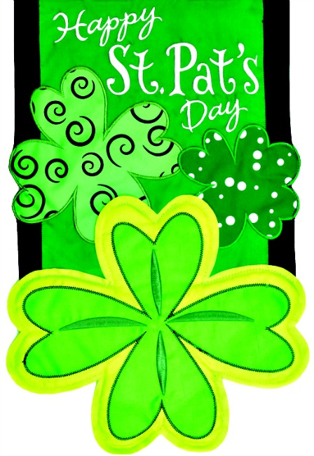 Happy st pat 39 s day applique mini garden flag by custom for Custom decor inc
