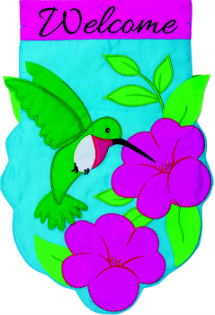 Hummingbird Applique Mini Garden Flag **NEW**