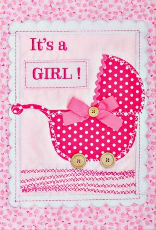It 39 s a girl applique mini garden flag by custom decor inc for It s a girl dekoration