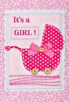 It's a Girl Applique Mini Garden Flag **NEW**