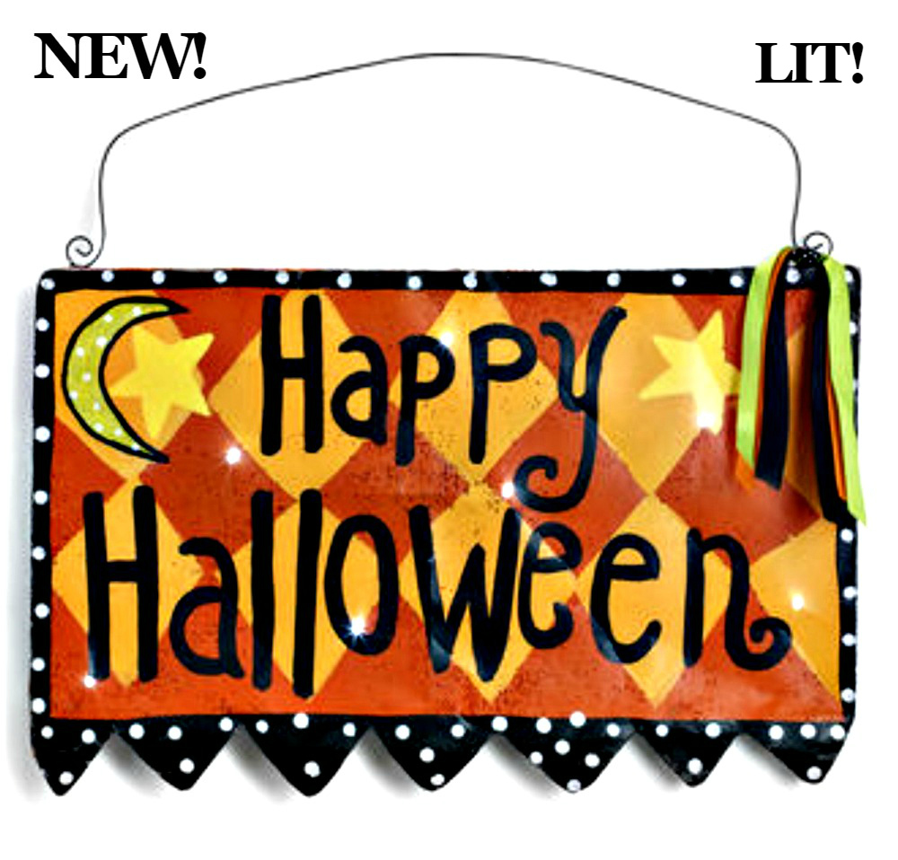 LIT Happy Halloween Sign Door Hanger from Silvestri by Artist Peri ...