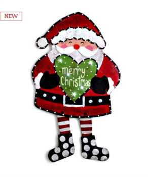 LIT Santa with Heart Door Hanger **SOLD OUT**