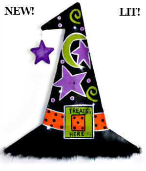 LIT Witch Hat Door Hanger **NEW - NOW AVAILABLE**