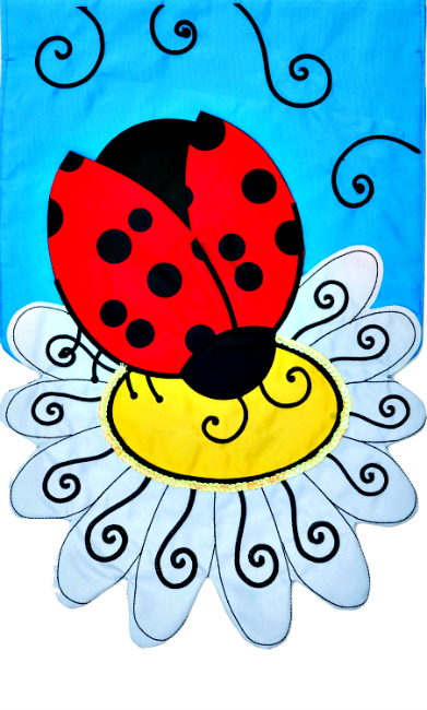 Ladybug daisy applique mini garden flag by custom decor inc for Custom decor inc