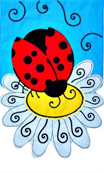 Ladybug Daisy Applique Mini Garden Flag **NEW**