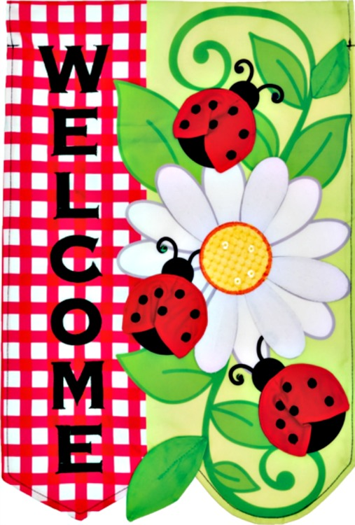 Ladybug daisy welcome applique mini garden flag by custom for Custom decor inc