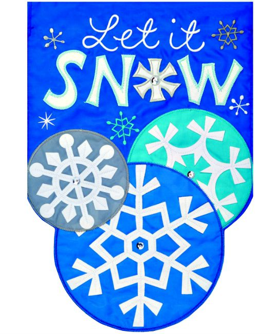 Let it snow applique mini garden flag by custom decor inc for Custom decor inc