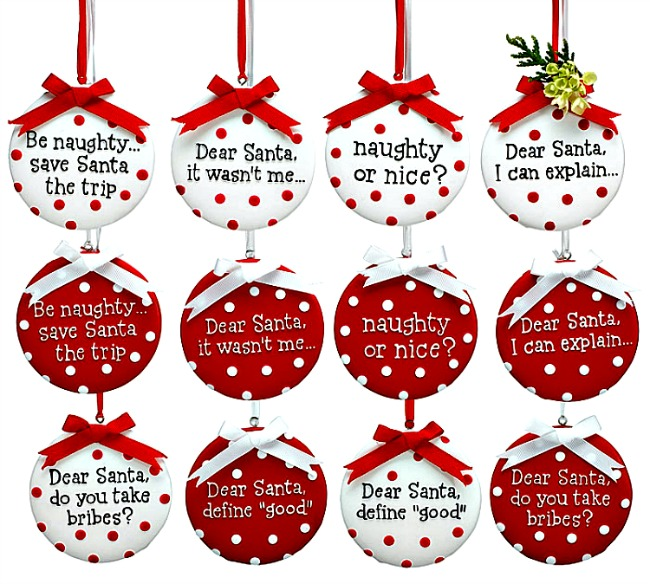 Dear Santa Naughty or Nice Message Christmas Ornaments **SOLD OUT** - Christmas Ornaments