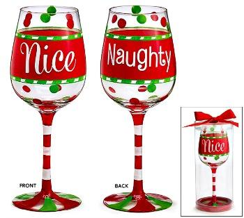 Naughty/Nice Christmas Wine Glass