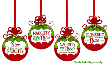 Naughty or Nice Message Wooden Ornaments **NEW**