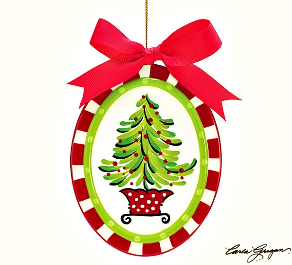 Oval Hand Painted Christmas Tree Ornament