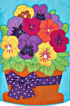 Pansy Pot Applique Mini Garden Flag **NEW**