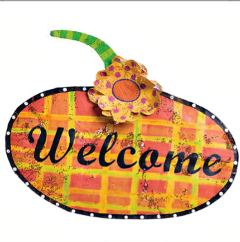 Patterned Pumpkin Door Hanger
