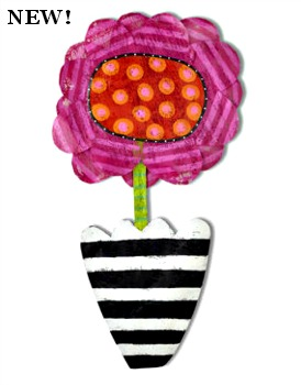 Pink Flower in Pot Door Hanger