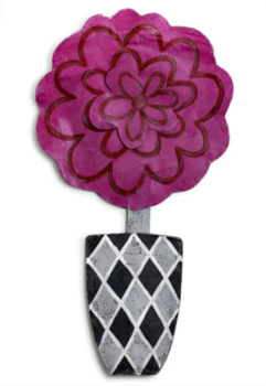 Pink Flower in Gray Pot Door Hanger **SOLD OUT**