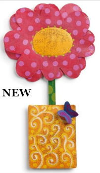 Pink Flower in Swirl Pot Door Hanger **NEW - NOW AVAILABLE**