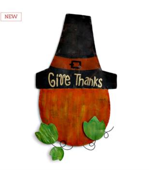 Pumpkin with Pilgrim Hat Door Hanger **NEW - NOW AVAILABLE**