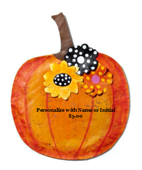 Pumpkin with Flowers Door Hanger