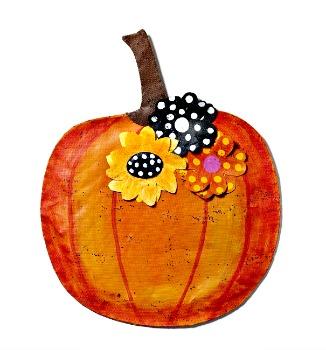 Pumpkin with Flowers Door Hanger