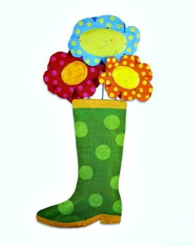 Rain Boot with Flowers Door Hanger