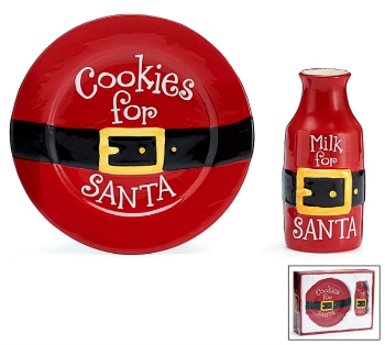 Santa Belt Cookies for Santa Plate and Milk Jug Set **NEW**