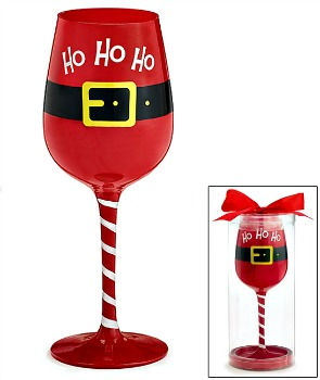 Santa Belt Ho Ho Ho Wine Glass