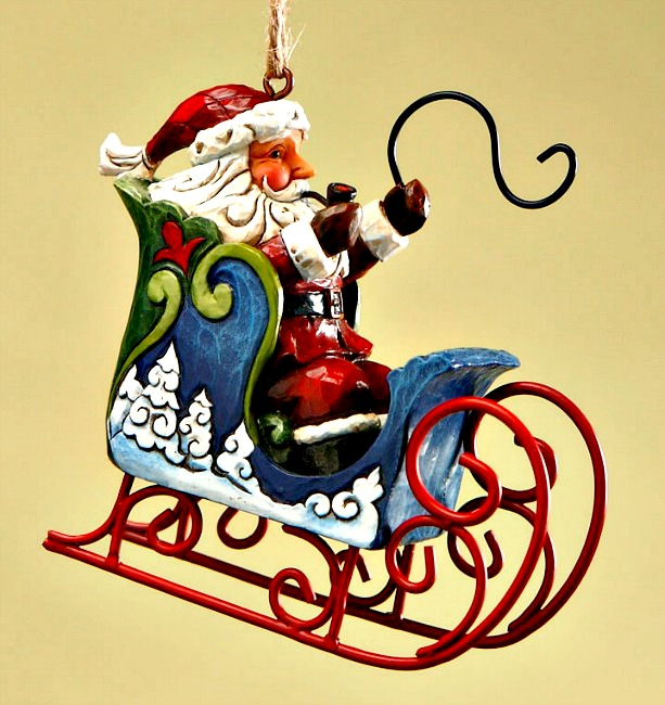 Santa In Sleigh Hanging Ornament